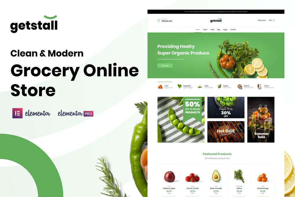 Grocery Organic Store Website Templates Elementor WordPress