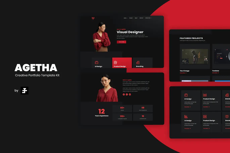 Creative Portfolio Website Template WordPress - Agetha