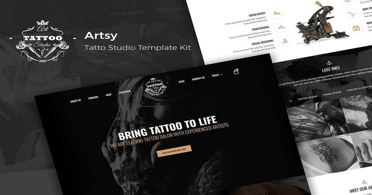 Artsy Tattoo Website Templates Free Download Elementor