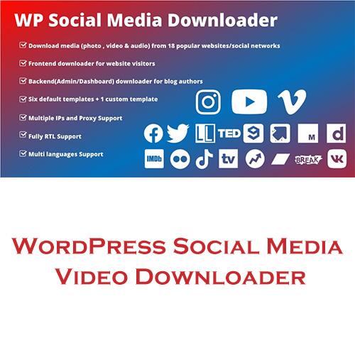WordPress Social Media Video Downloader Plugin